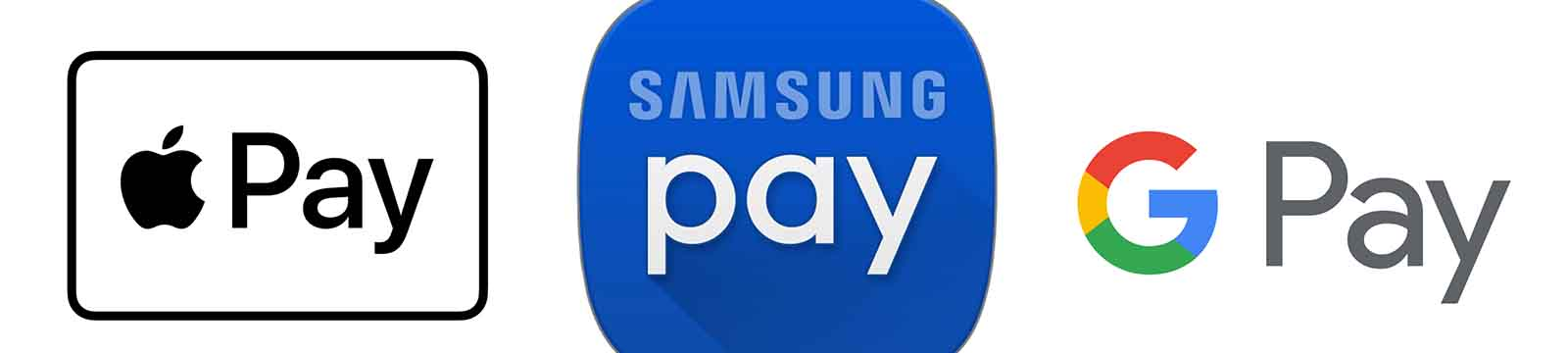 Apple pay, Samsung Pay, and Google Pay logos